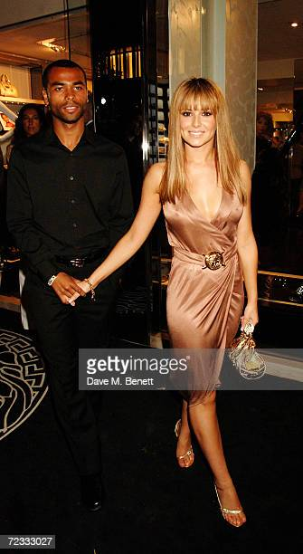 Ashley Cole and Cheryl Tweedy attend the launch party for the 21st anniversary issue of Elle Magazine hosted by Donatella Versace and Loriane Sanders...