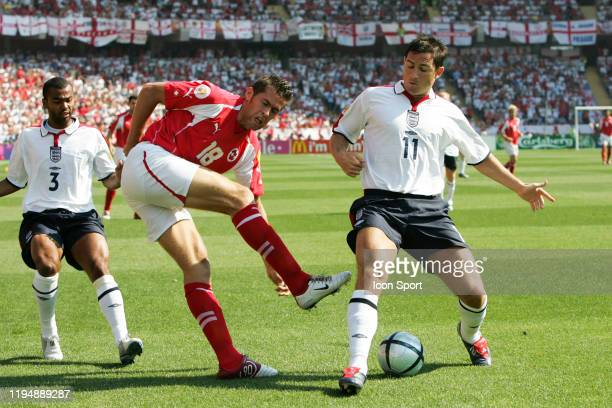 Ashley COLE, Frank LAMPARD of England and Benjamin HUGGEL of Switzerland during the European Championship match between England and Switzerland at...