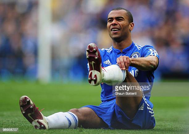 Ashley Cole of Chelsea adjusts his socks during the Barclays Premier League match between Chelsea and Wigan Athletic at Stamford Bridge on May 9 2010...