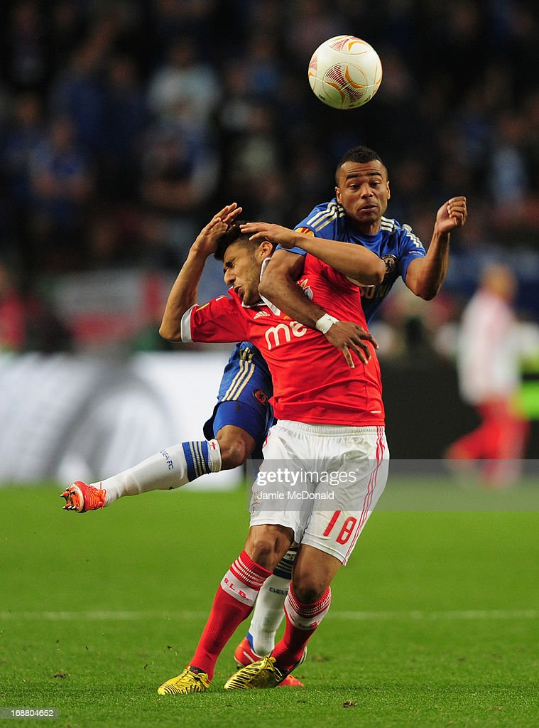 Ashley Cole of Chelsea and Eduardo Salvio of Benfica fight for the ball during the UEFA Europa League Final between SL Benfica and Chelsea FC at Amsterdam Arena on May 15, 2013 in Amsterdam, Netherlands.