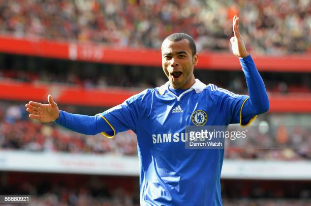 Ashley Cole of Chelsea celebrates after his cross was deflected in by Kolo Toure of Arsenal for the third goal of the game during the Barclays...