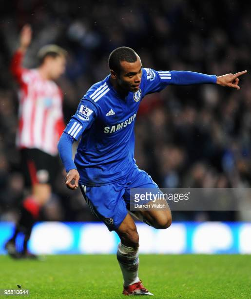 Ashley Cole of Chelsea celebrates scoring his sides third goal during the Barclays Premier League match between Chelsea and Sunderland at Stamford...