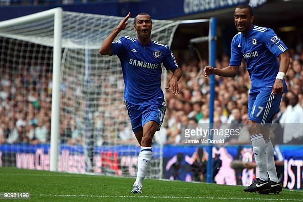 Ashley Cole of Chelsea celebrates scoring the first goal during the Barclays Premier League match between Chelsea and Tottenham Hotspur at Stamford...