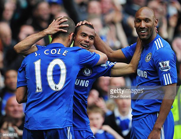 Ashley Cole of Chelsea celebrates with Nicolas Anelka and Joe Cole as he scores their eighth goal during the Barclays Premier League match between...