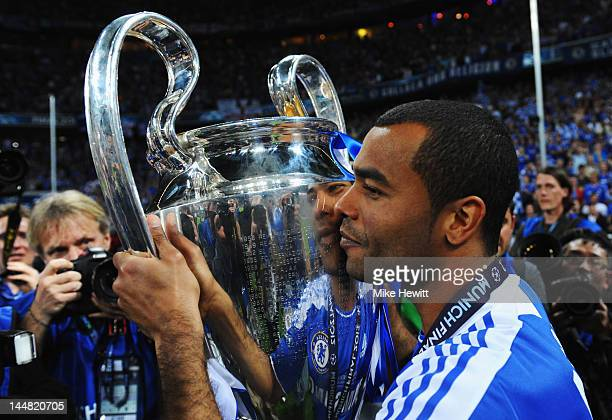 Ashley Cole of Chelsea celebrates with the trophy after their victory in the UEFA Champions League Final between FC Bayern Muenchen and Chelsea at...