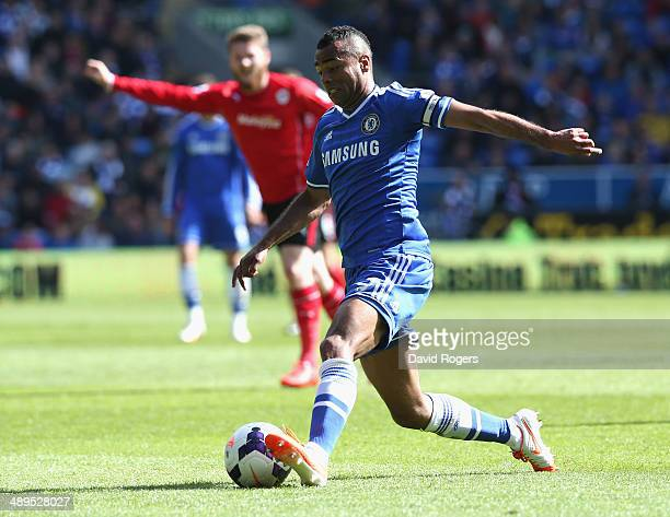 Ashley Cole of Chelsea controls the ball during the Barclays Premier League match between Cardiff City and Chelsea at the Cardiff City Stadium on May...