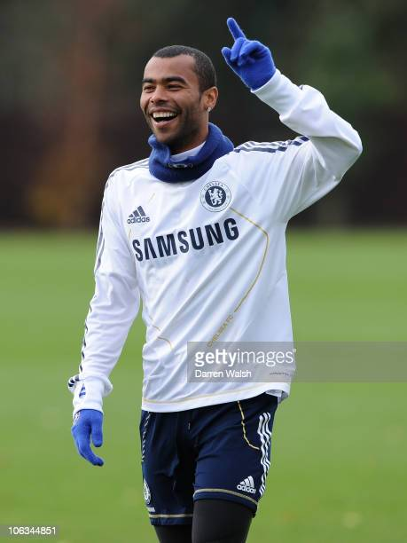 Ashley Cole of Chelsea during a training session at the Cobham training ground on October 29 2010 in Cobham England