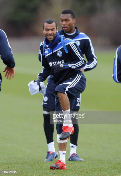 Ashley Cole of Chelsea during a training session at the Cobham Training Ground on April 16 2010 in Cobham England