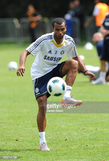 Ashley Cole of Chelsea during a training session at the Commersz Arena stadium complex on August 3 2010 in Frankfurt Germany