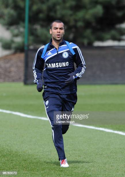 Ashley Cole of Chelsea during an individual training session on grass at the cobham training ground on April 6, 2010 in Cobham, England.