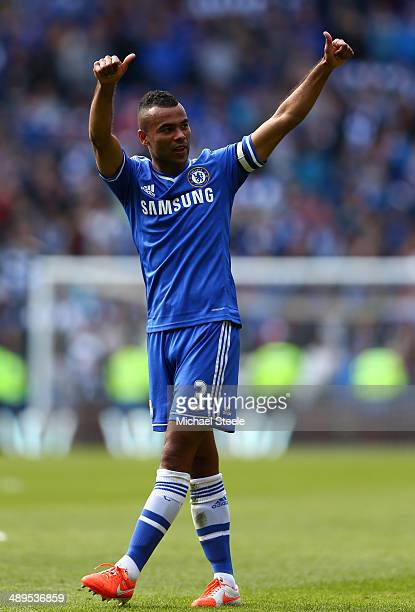 Ashley Cole of Chelsea gives a thumbs up to the fans at the end of the match during the Barclays Premier League match between Cardiff City and...