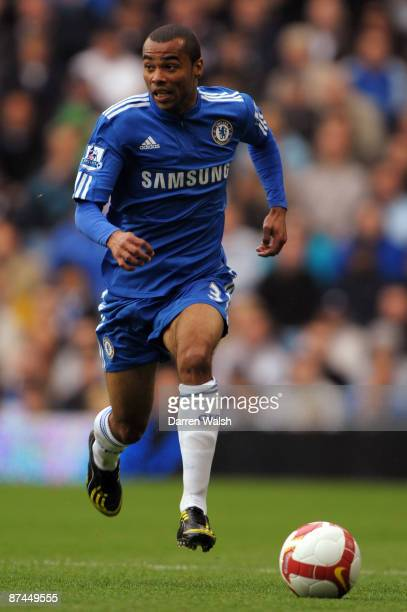 Ashley Cole of Chelsea in action during the Barclays Premier League match between Chelsea and Blackburn Rovers at Stamford Bridge on May 17 2009 in...