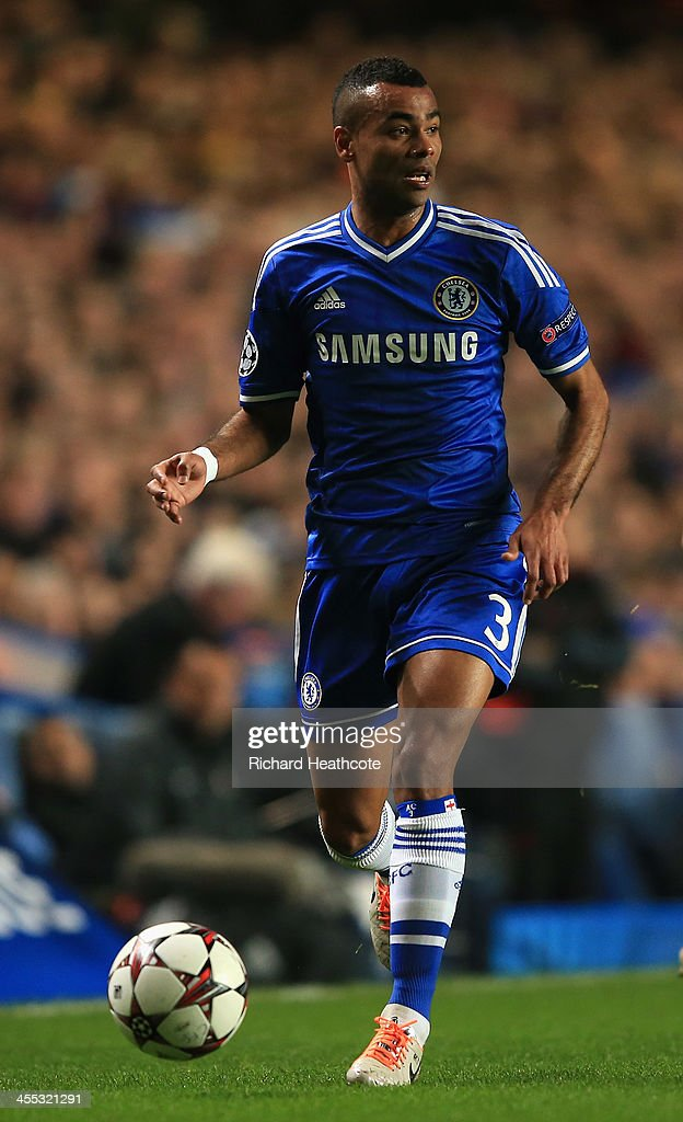 Ashley Cole of Chelsea in action during the UEFA Champions League group E match between Chelsea and Steaua Bucuresti at Stamford Bridge on December 11, 2013 in London, England.