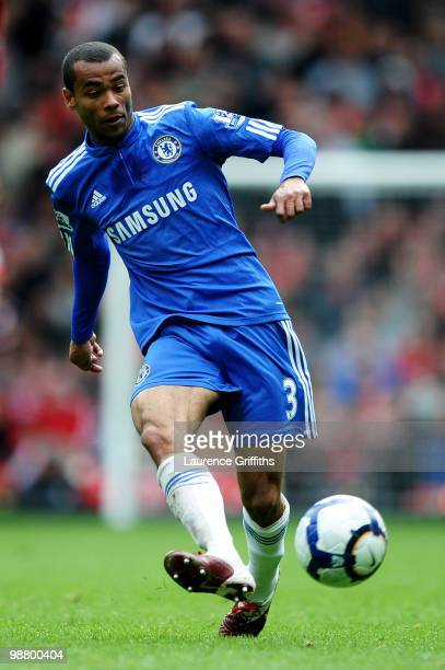 Ashley Cole of Chelsea passes the ball during the Barclays Premier League match between Liverpool and Chelsea at Anfield on May 2 2010 in Liverpool...