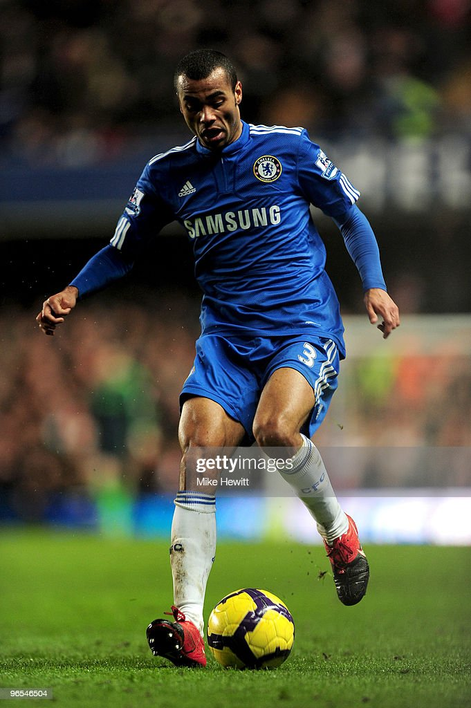 Ashley Cole of Chelsea runs with the ball during the Barclays Premier League match between Chelsea and Arsenal at Stamford Bridge on February 7, 2010 in London, England.