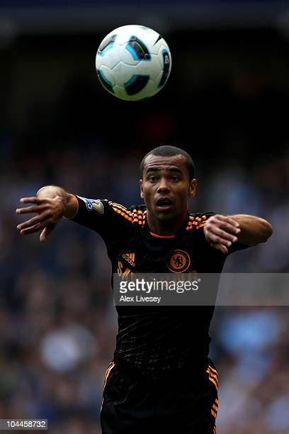 Ashley Cole of Chelsea takes a throw in during the Barclays Premier League match between Manchester City and Chelsea at the City of Manchester...