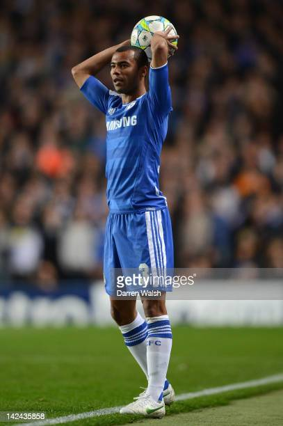 Ashley Cole of Chelsea takes a throw in during the UEFA Champions League Quarter Final second leg match between Chelsea FC and SL Benfica at Stamford...