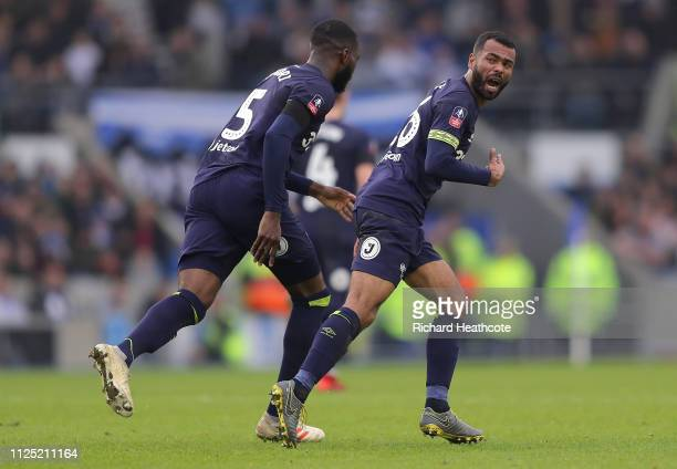 Ashley Cole of Derby County celebrates after scoring his team's first goal during the FA Cup Fifth Round match between Brighton and Hove Albion and...