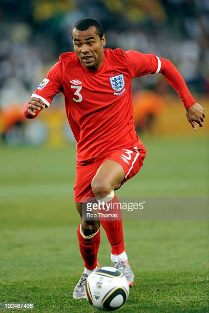 Ashley Cole of England dribbles during the 2010 FIFA World Cup South Africa Round of Sixteen match between Germany and England at Free State Stadium...
