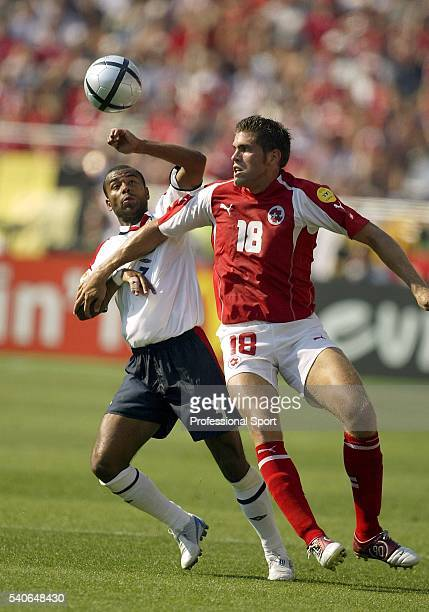 Ashley Cole of England in action during the UEFA Euro 2004 Group B match between England and Switzerland at the Estadio Cidade de Coimbra on June 17,...