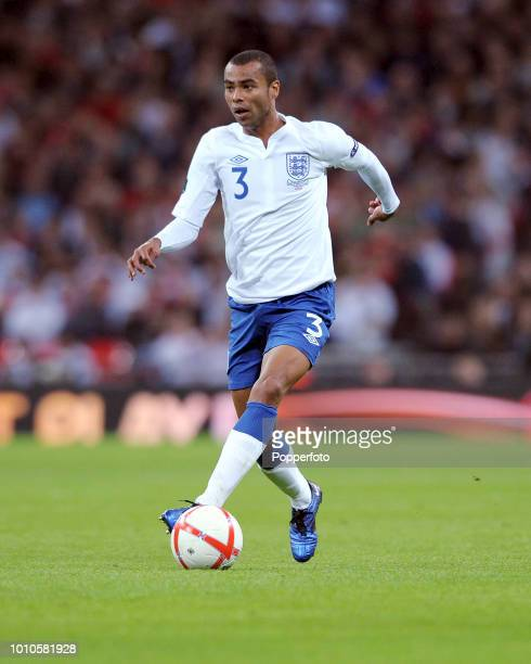 Ashley Cole of England in action during the UEFA EURO 2012 Group G Qualifying match between England and Montenegro at Wembley Stadium in London on...