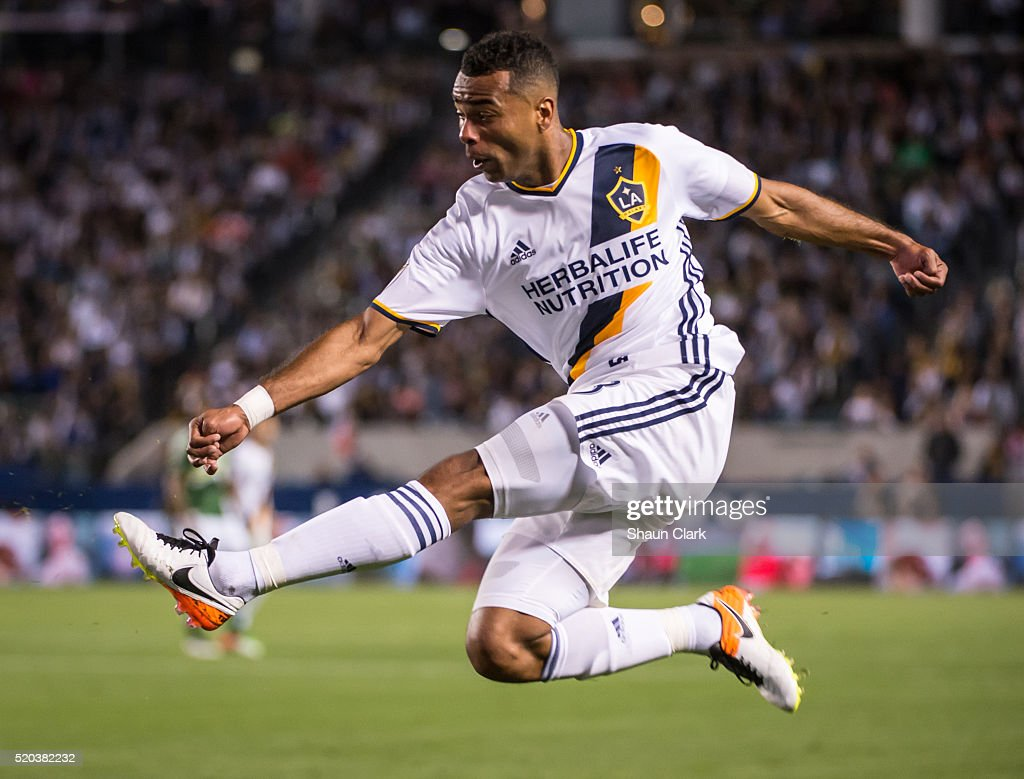 Ashley Cole #3 of Los Angeles Galaxy during Los Angeles Galaxy's MLS match against Portland Timbers at the StubHub Center on April 10, 2016 in Carson, California. The match ended in a 1-1 tie