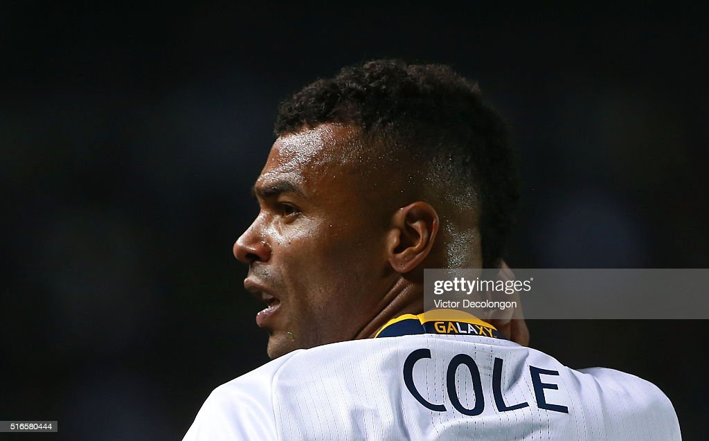 Ashley Cole #3 of Los Angeles Galaxy looks on after taking a hand to the face from a D.C. United player during the first half of their MLS match at StubHub Center on March 6, 2016 in Carson, California. There was no foul called on the play against D.C. United. The Galaxy defeated United 4-1.