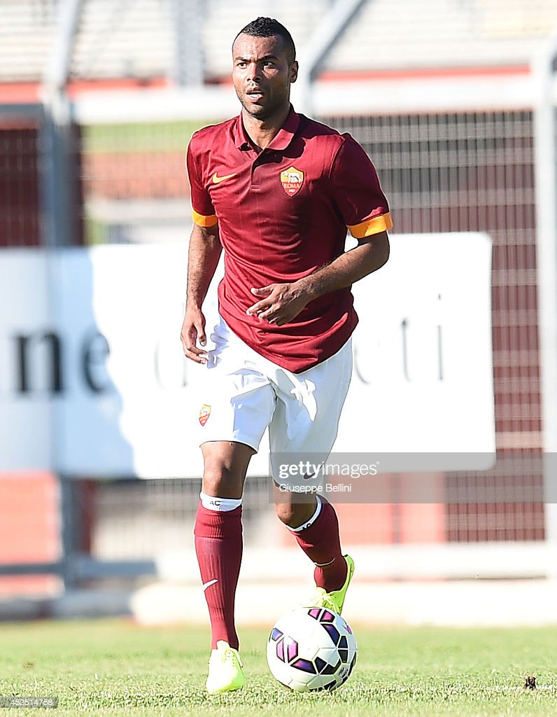 Ashley Cole of Roma in action during the friendly match between AS Roma and Indonesia U23 at Stadio Centro d'Italia - Manlio Scopigno on July 18, 2014 in Rieti, Italy.