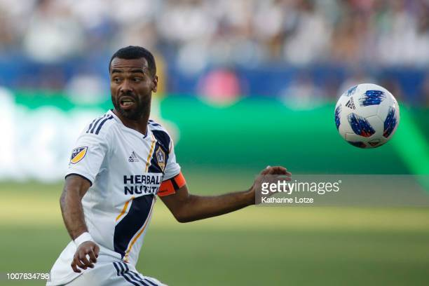 Ashley Cole of the Los Angeles Galaxy dribbles the ball down the field at StubHub Center on July 29 2018 in Carson California