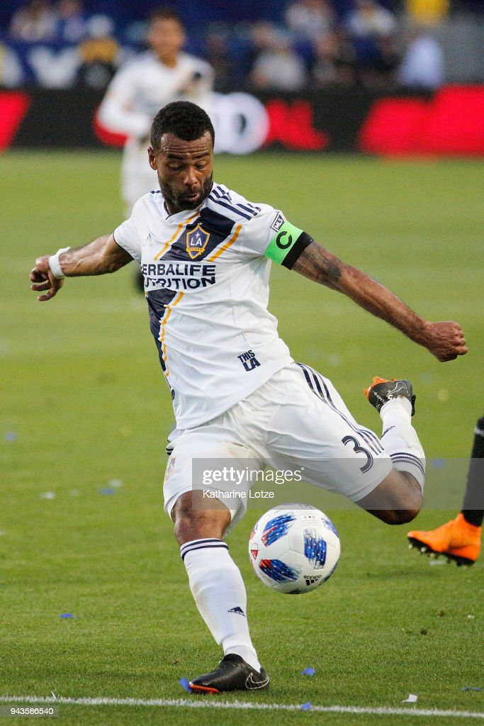 Ashley Cole #3 of the Los Angeles Galaxy kicks the ball during a game against Sporting Kansas City at StubHub Center on April 8, 2018 in Carson, California.