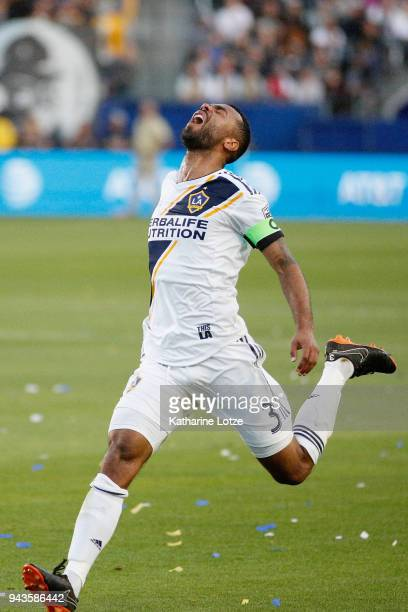 Ashley Cole of the Los Angeles Galaxy reacts to a missed shot on goal during a game against Sporting Kansas City at StubHub Center on April 8 2018 in...
