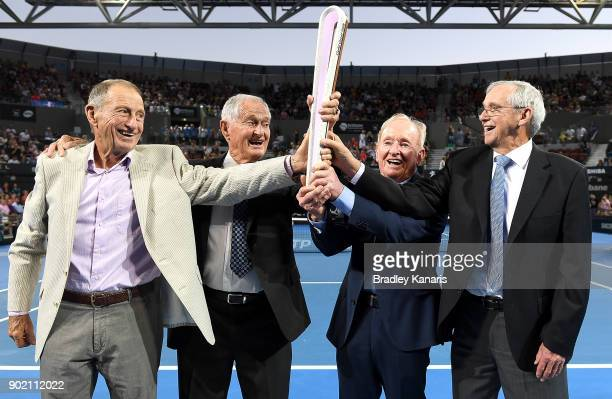 Ashley Cooper Mal Anderson Rod Laver and Roy Emerson pose for a photo with the Commonwealth Games baton during day eight of the 2018 Brisbane...