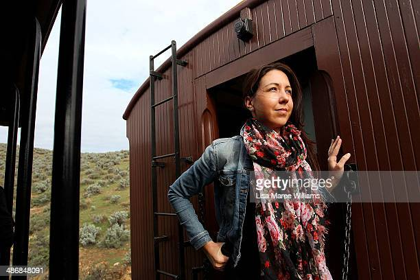 Ashley Donnelly a passenger of The Ghan takes a day trip on the 'Pichi Richi' steam train through the Flinders Ranges on April 26 2014 in Port...