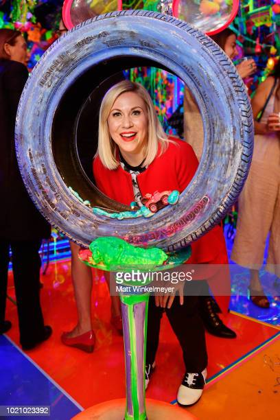 Ashley Eckstein attends the opening of Kenny Scharf's Cosmic Cavern in celebration of Mickey's 90th Anniversary at Minnesota Street Project on August...
