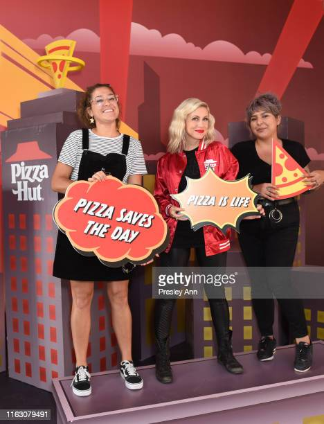 Ashley Eckstein of 'Her Universe' and friends attend the Pizza Hut Lounge at 2019 ComicCon International San Diego on July 19 2019 in San Diego...