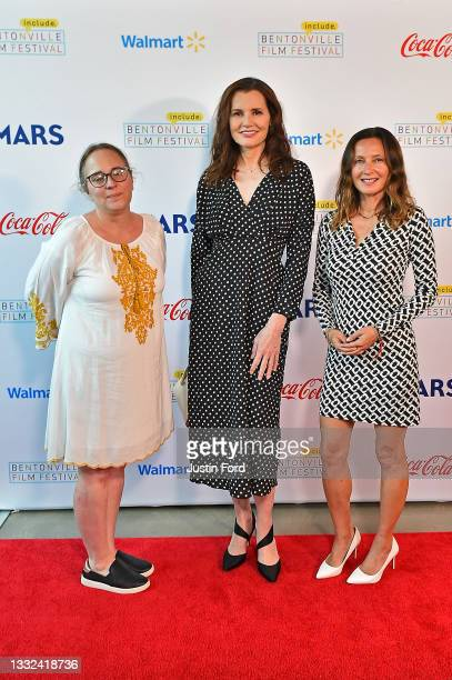 Ashley Edwards, Geena Davis and Wendy Guerrero attend the 2021 Bentonville Film Festival opening night red carpet and filmmaker reception on August...