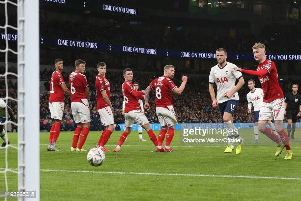 Ashley Fletcher Dael Fry Paddy McNair Jonny Howson and Adam Clayton of Middlesbrough look round to watch the freekick of Christian Eriksen of...