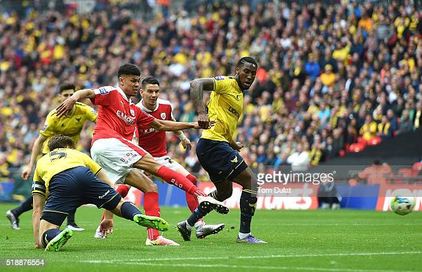 Ashley Fletcher of Barnsley scores a goal during the Johnstone's Paint Trophy Final match between Oxford United and Barnsley at Wembley Stadium on...