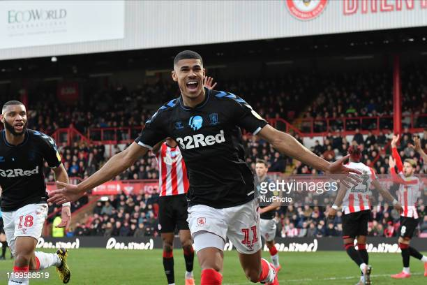 Ashley Fletcher of Middlesborough celebrates a goal during the Sky Bet Championship match between Brentford and Middlesbrough at Griffin Park on...