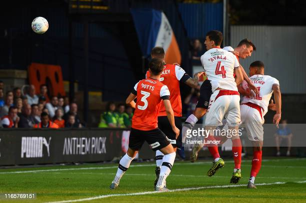Ashley Fletcher of Middlesborough scores his team's first goal during the Sky Bet Championship match between Luton Town and Middlesbrough at...