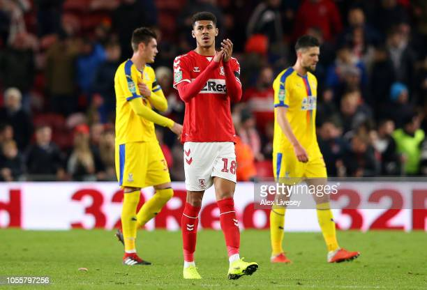 Ashley Fletcher of Middlesbrough acknowledges the fans after the Carabao Cup Fourth Round match between Middlesbrough and Crystal Palace at Riverside...