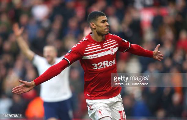 Ashley Fletcher of Middlesbrough celebrates after scoring his team's first goal during the FA Cup Third Round match between Middlesbrough and...