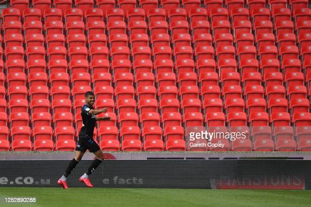 Ashley Fletcher of Middlesbrough celebrates after scoring the opening goal during the Sky Bet Championship match between Stoke City and Middlesbrough...