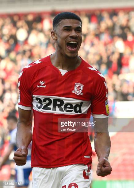 Ashley Fletcher of Middlesbrough celebrates scoring his teams second goal during the Sky Bet Championship match between Middlesbrough and Queens Park...