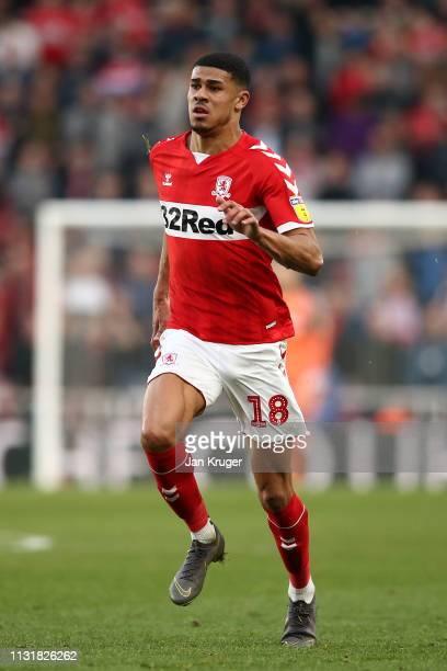 Ashley Fletcher of Middlesbrough during the Sky Bet Championship match between Middlesbrough and Queens Park Rangers at Riverside Stadium on February...