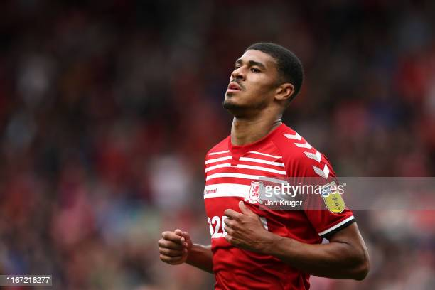 Ashley Fletcher of Middlesbrough during the Sky Bet Championship match between Middlesbrough and Brentford at Riverside Stadium on August 10 2019 in...