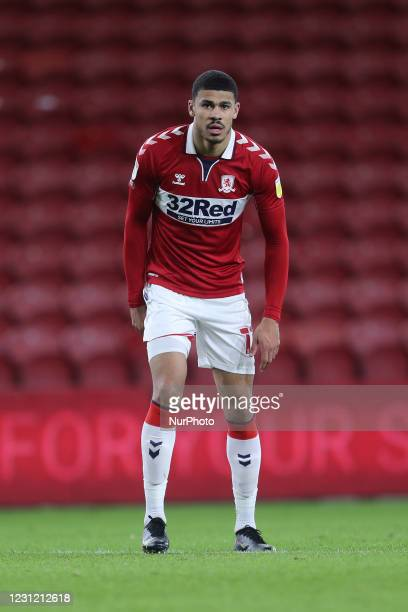 Ashley Fletcher of Middlesbrough during the Sky Bet Championship match between Middlesbrough and Huddersfield Town at the Riverside Stadium,...