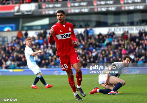 Ashley Fletcher of Middlesbrough FC celebrates scoring his teams first goal during the Sky Bet Championship match between Blackburn Rovers and...