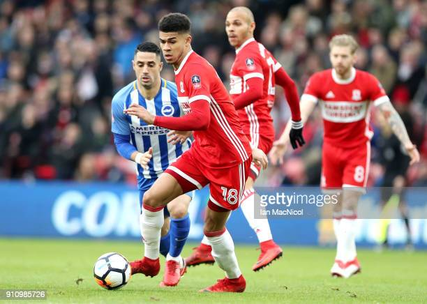 Ashley Fletcher of Middlesbrough runs with the ball during The Emirates FA Cup Fourth Round match between Middlesbrough and Brighton at Riverside...