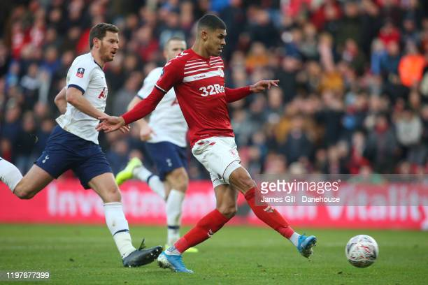 Ashley Fletcher of Middlesbrough scores his team's first goal during the FA Cup Third Round match between Middlesbrough and Tottenham Hotspur at...